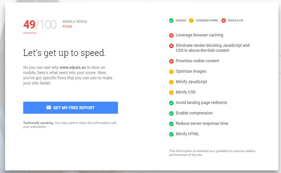 Consejos de mejora del sitio web